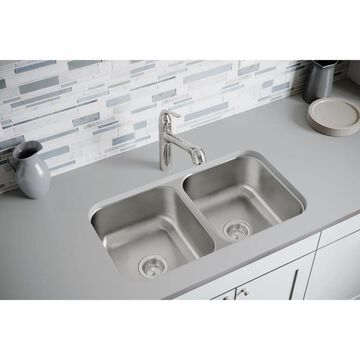 Elkay Dayton Undermount 31.75-in x 18.25-in Radiant Satin Double Equal Bowl Kitchen Sink Stainless Steel   DXUH3118
