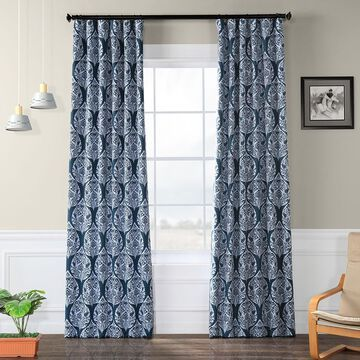 Exclusive Fabrics Woodcut Blackout Curtain Panel Pair
