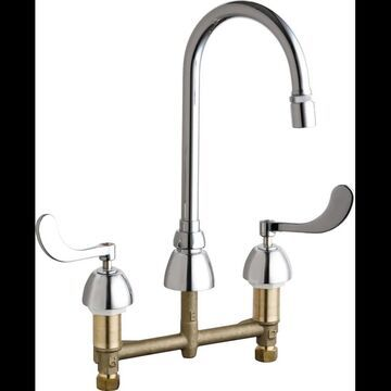 Chicago Faucets 786-E29XKAB Commercial Grade High Arch Kitchen Faucet with Wrist Chrome Faucet Kitchen Double Handle