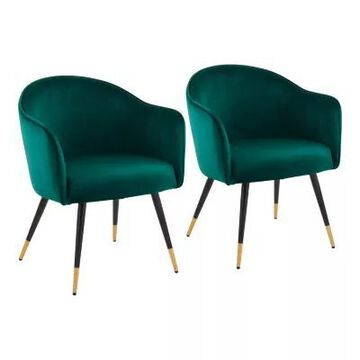 LumiSource Dani Club Chairs in Green/Black (Set of 2)