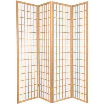 Oriental Furniture 6 Ft Tall Window Pane Shoji Screen, 4 panel, natural color