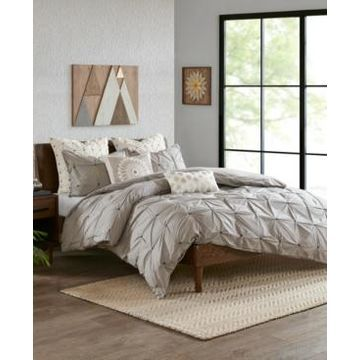 Ink+Ivy Masie King/Cal King 3 Piece Elastic Embroidered Cotton Duvet Cover Set Bedding