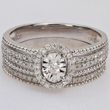 Miadora 1/3ct TDW Diamond Multi-Row Halo Bridal Ring Set in Sterling Silver