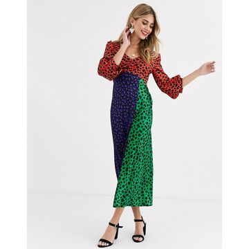 Liquorish satin midaxi dress in multi polka dot
