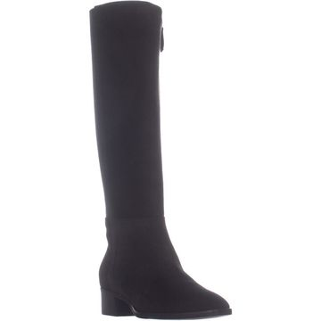 Aquatalia Finola Heeled Knee High Boots, Black Suede