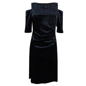 Connected Women's Crushed Velvet Cold-Shoulder Dress