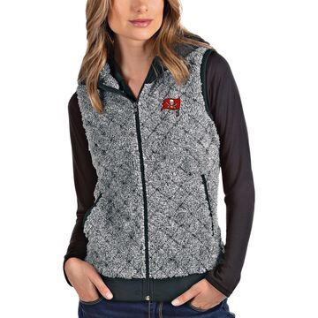Women's Antigua Heathered Gray Tampa Bay Buccaneers Fame Hooded Full-Zip Vest