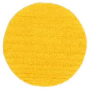 Unique Loom 8'2 Round Solid Shag Area Rug in Tuscan Sun Yellow