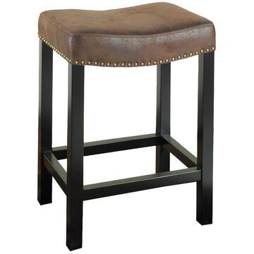 Armen Living Tudor Brown Counter height (22-in to 26-in) Upholstered Bar Stool in Black   LCMBS013BAWR26