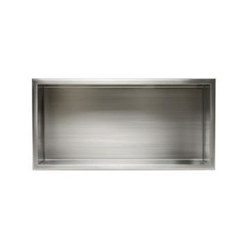 Alfi brand Brushed Stainless Steel Horizontal Single Shelf Bath Shower Niche Bedding