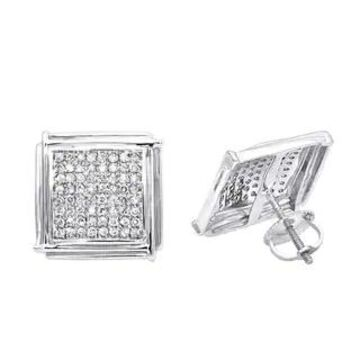 14K Gold Pave Round Diamond Square Shape Earrings 0.7ctw by Luxurman (White)