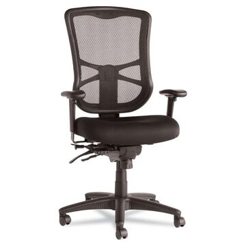 Alera Elusion Series Mesh High-Back Multifunction Chair, Supports up to 275 lbs, Black Seat/Black Back, Black Base - Clear (Clear)