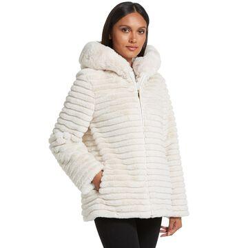 Women's Gallery Hooded Faux-Fur Embossed Jacket