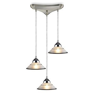 Elk Lighting Vertical 3-Light Prism Pendant With Transparent Etched Glass Shades In Polished Chrome