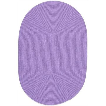 HB15R084X108 7 x 9 in. Happy Braids Solid Violet Oval Rug