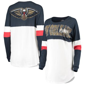5th & Ocean by New Era New Orleans Pelicans Women's White Color Block Baby Jersey Long Sleeve T-Shirt