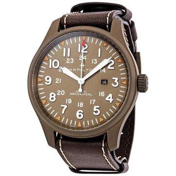 Hamilton Men's H69829560 'Khaki Field' Brown Leather Watch