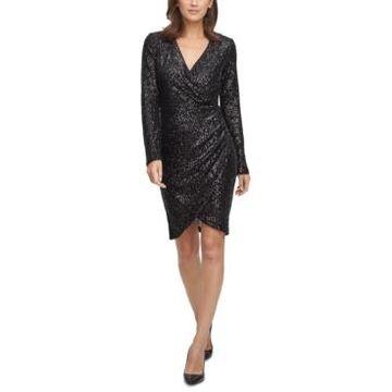 Eliza J Sequin Side-Ruched Sheath Dress