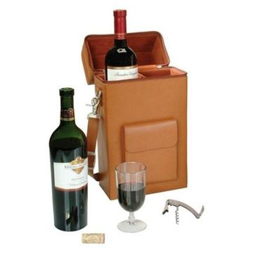 Royce Leather Connoisseur Wine Carrier, Tan
