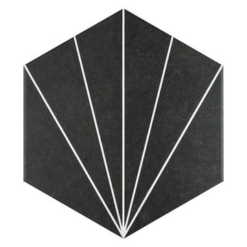 SomerTile 8.625x9.875-inch Madama Hex Nero Porcelain Floor and Wall Tile (25 tiles/11.56 sqft.)