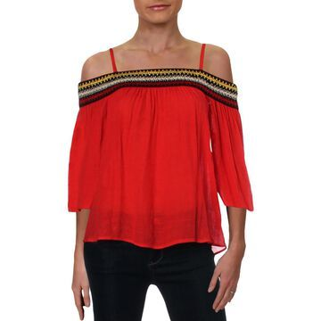BCX Womens Juniors Off-The-Shoulder Embroidered Blouse