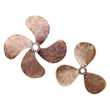 Moes Home Collection HW-1044 Two Piece Metal Propeller Wall Sculptures