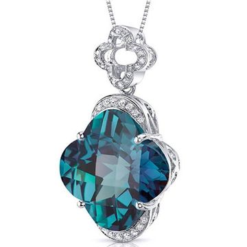 Oravo Sterling Silver Lily Cut Gemstone Necklace