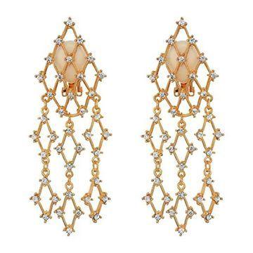 Kenneth Jay Lane 3 1/4 Small Waterfall Clip Earrings (Gold/Crystal) Earring