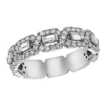 14k White Gold 1ct TDW Baguette and Round Diamonds Wedding Band Ring by Beverly Hills Charm (6)