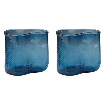 Lazy Susan Fish Net Glass Vases, Navy, Set Of 2