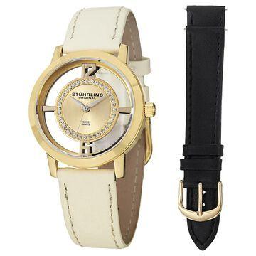 Stuhrling Original Women's Winchester Tiara Swiss Quartz Leather Strap Watch Set (Stuhrling Original Women's Watch)