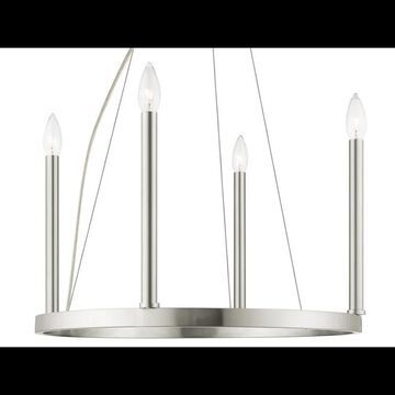 Livex Lighting 40244 Alpine 5 Light 1 Tier Chandelier Brushed Nickel Indoor Lighting Chandeliers