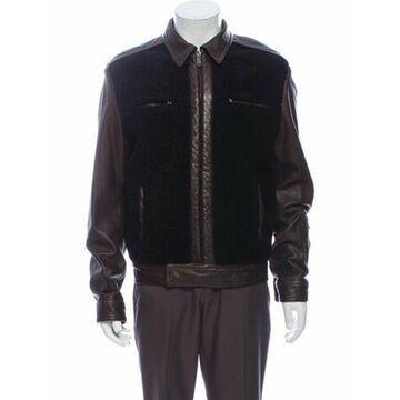 Shearling Colorblock Pattern Jacket Black