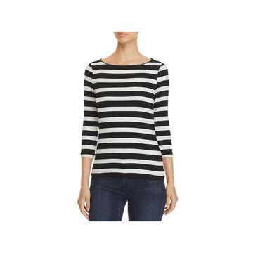 Three Dots Womens Alpine T-Shirt Striped 3/4 Sleeves