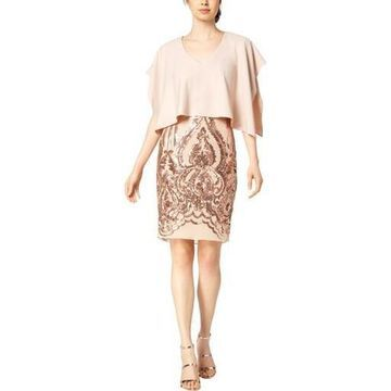 Betsy & Adam Womens Cape Sequined Cocktail Dress