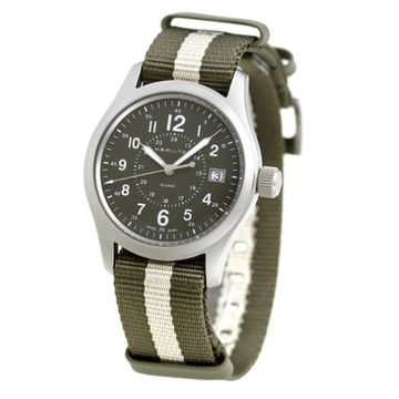 Hamilton Men's H68201063 'Khaki Field' Two-Tone Fabric Watch (Male - Stainless Steel - New)