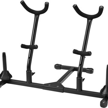 Folding Alto and Tenor Double Saxophone Stand with Double Flute or Double Clarinet Peg
