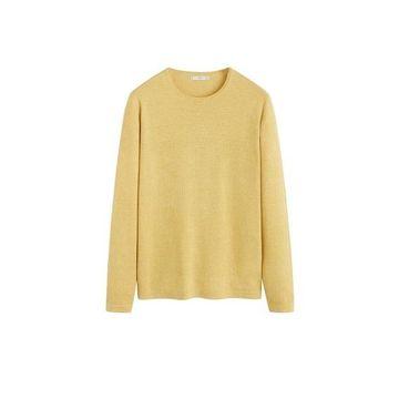 MANGO MAN - Structured linen cotton sweater pastel yellow - L - Men