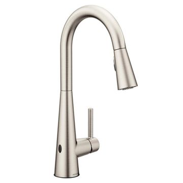 Moen Sleek Spot Resist Stainless 1-Handle Deck-Mount High-Arc Touchless Kitchen Faucet (Deck Plate Included)