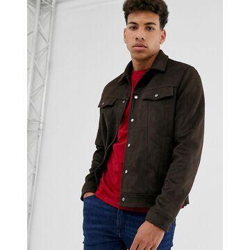 New Look faux suede western jacket in brown