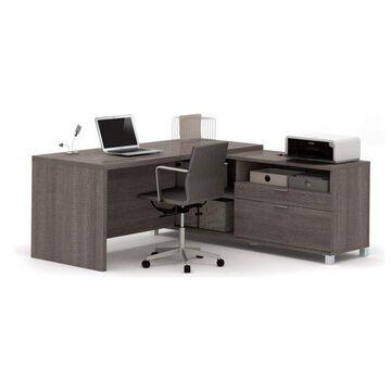 Bestar Pro-Linea L-Desk, Bark Gray
