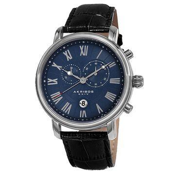 Akribos XXIV Men's Swiss Quartz Chronograph Leather Silver-Tone Bracelet Watch - Blue (Silver-tone/Blue)