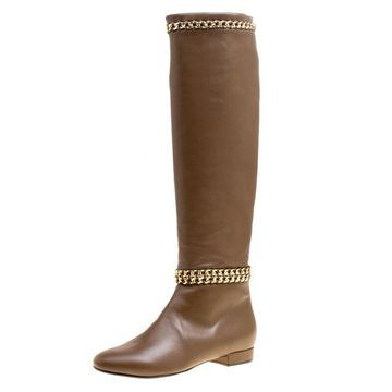 Le Silla Brown Leather Chain Detail Knee High Boots Size 37.5