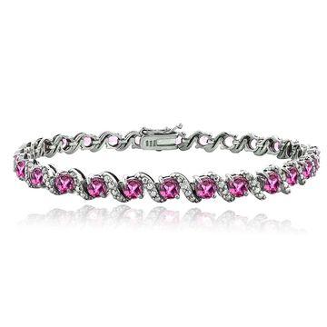Glitzy Rocks Sterling Silver Pink Tourmaline Diamond Accent S Bracelet (PD10831-PT)