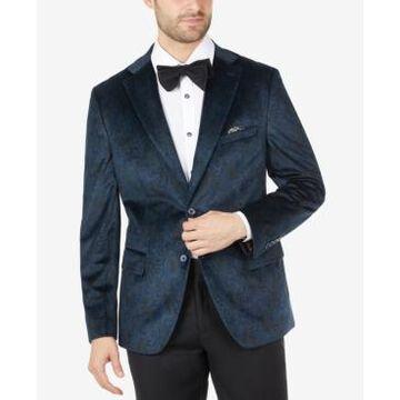 Tallia Men's Slim-Fit Blue Paisley Velvet Blazer