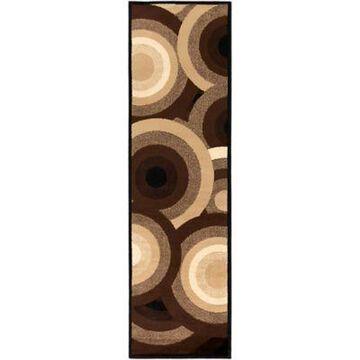 Surya Peroz Circles 2-Foot 2-Inch x 7-Foot 6-Inch Runner in Dark Brown