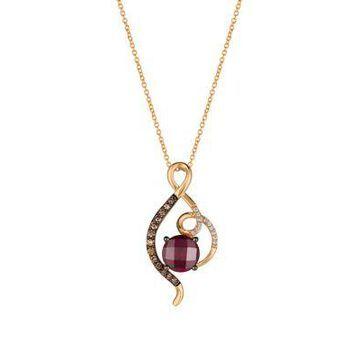 Le Vian Women 2.5 Ct. T.W. Raspberry Rhodolite, 1/5 Ct. T.W. Chocolate Diamonds, And 1/20 Ct. T.W. Vanilla Diamonds In 14K Strawbe