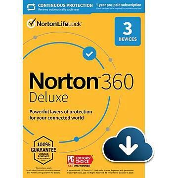 Norton 360 Deluxe for 3 Devices, Windows/Mac/Android/iOS, Download (21390663)