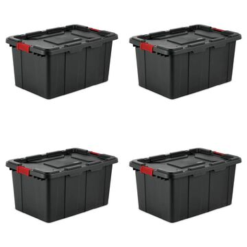 Case of 4 Black Sterilite 27 Gallon Industrial Storage Totes (Black - Assembled)