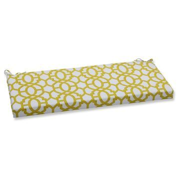 Pillow Perfect Outdoor/ Indoor Nunu Geo Bench Cushion - Yellow